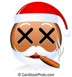 claus, schwarz, santa, emoji