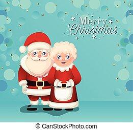 claus, señora, alegre, letras, santa, navidad