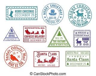 claus, selos, poste, santa, correio, natal