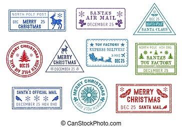 claus, selos, santa, poste, natal, correio