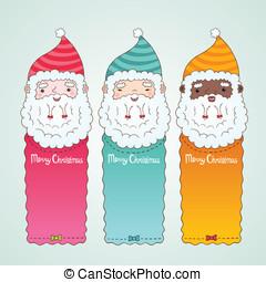 claus, set, banieren, kerstman, kerstmis
