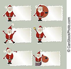 claus, set, kerstmis, kerstman, etiket