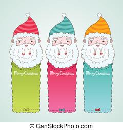claus, set, spandoek, kerstmis, kerstman