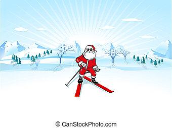 claus, ski, santa