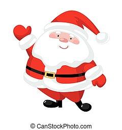claus, spotprent, kerstman