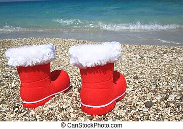 claus, strand, kerstman, laarzen