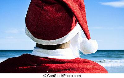 claus, strand, kerstman