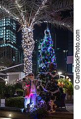 claus, träd, utanför, jultomten, natt, jul