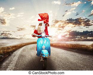 claus, vasten, kerstman, motorfiets