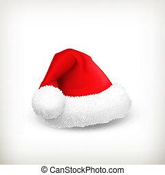 claus, vecteur, chapeau, santa