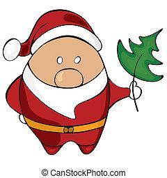 claus., vector, kerstman, illustratie