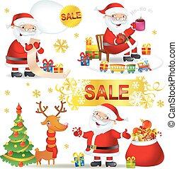 claus, venda, santa, jogo, natal