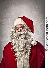 claus, verbaasd, kerstman