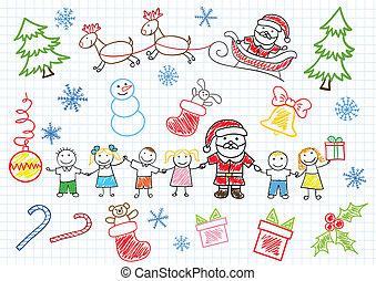 claus, -, vettore, santa, sketchs, bambini