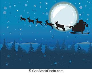 claus, voando, lua, cheio, santa, sleigh