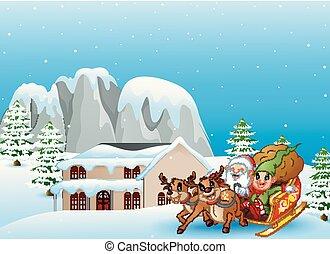 claus, weihnachtshelfer, geschenke, tasche, nikolausschlitten, reiten, karikatur