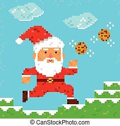 clause, art, pixel, santa