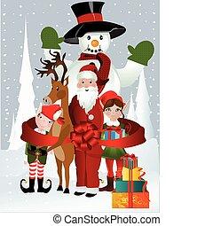 clause, bonhomme de neige, elfe, santa, rudolph