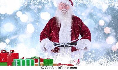 clause, présente, combiné, noël, santa, neige, tomber