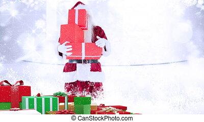 clause, présente, tenue, combiné, noël, santa, neige, tomber