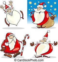 clauses, conjunto, caricatura, santa, navidad