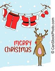 claus's, texto, roupas suspensas, natal, santa, feliz