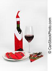 claus's, vino, santa, bottiglia, completo