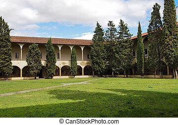 claustro, jardín, en, florencia, en, italia, en, el,...