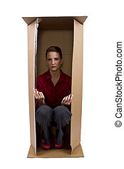 Claustrophobia - Businesswoman Feeling Boxed In