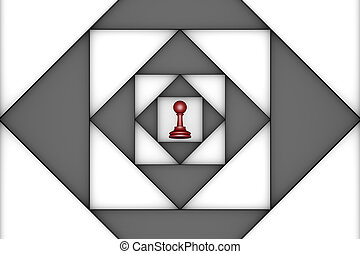 Claustrophobic (chess metaphor) - Red pawn in the center of...
