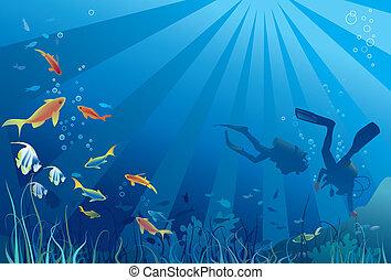 clavadistas, vida, mar, escafandra autónoma