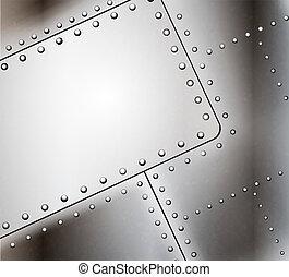 clavado, metal, plano de fondo, vector