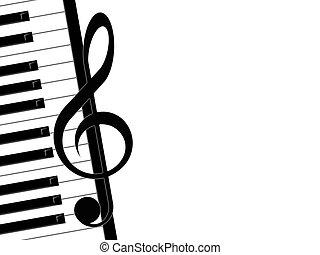 clave de sol, y, piano