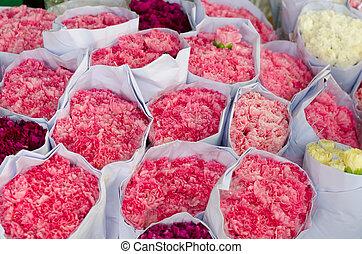 clavel, en venta, en, mercado de flor, en, bangkok, tailandia