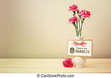 claveles, womans, marzo, día, tarjeta, 8