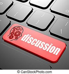 clavier, à, discussion, texte