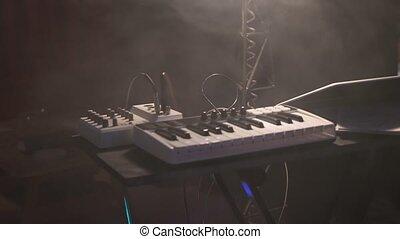 clavier, étape, synthétiseur, musique, derrièrede la scène, festival., mélangeur, concert
