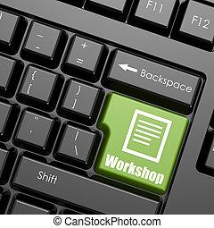 clavier, atelier, mot, informatique