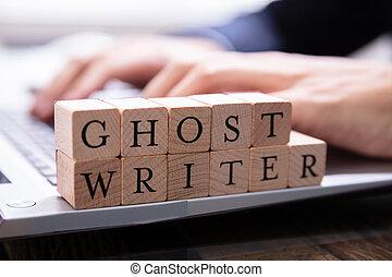 clavier, bloc, bois, ghostwriter, informatique