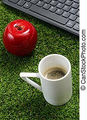 clavier, café, informatique, herbe verte