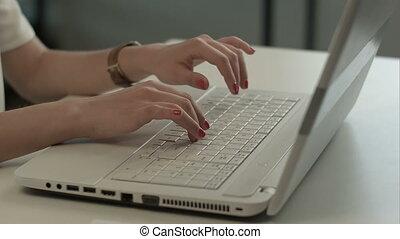 clavier, dactylographie, femme, informatique, mains