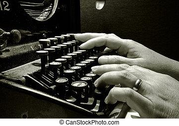 clavier, dactylographie, vieux, machine écrire, mains