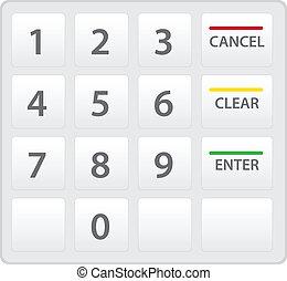 clavier, distributeur billets banque, isolé, vecteur, white., version.