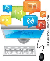clavier, e-apprendre, concept, -, informatique