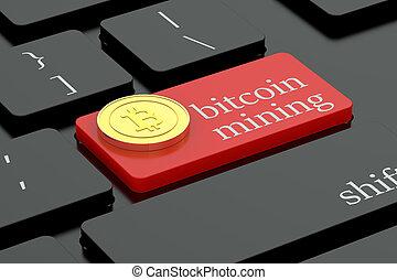 clavier, exploitation minière, concept, bouton, bitcoin