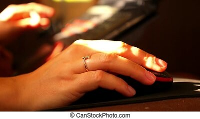 clavier, home., femme, informatique, dactylographie