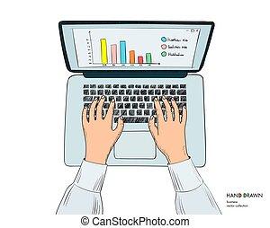 clavier, isolé, mains, main, laptop., fond, lieu travail, croquis, illustration, working., vecteur, blanc, dessiné