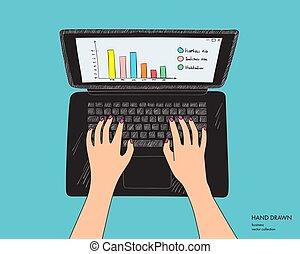 clavier, isolé, mains, main, noir, laptop., fond, lieu travail, femme, croquis, illustration, working., vecteur, blanc, dessiné