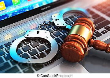 clavier, juge, ordinateur portable, menottes, maillet