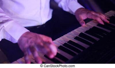 clavier, musicien, jouer, concert, mains